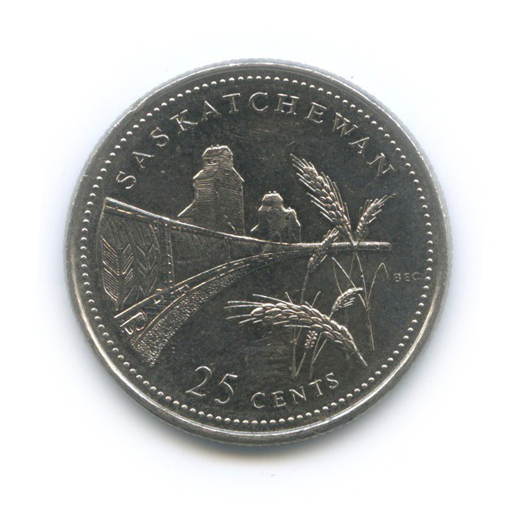 25 центов (квотер) — 125 лет Конфедерации Канада - Саскачеван 1992 года (Канада)