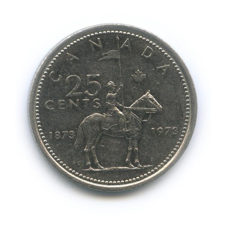 25 центов (квотер) — 100 лет конной полиции Канады 1973 года (Канада)