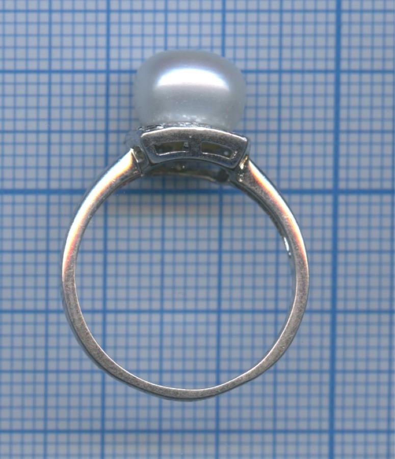 Кольцо (серебро 925 пробы, искусственный жемчуг, фианиты)