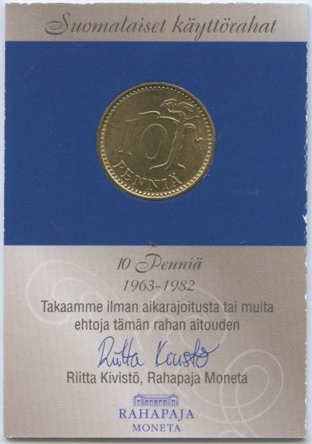 10 пенни (воткрытке с футляром) 1978 года (Финляндия)