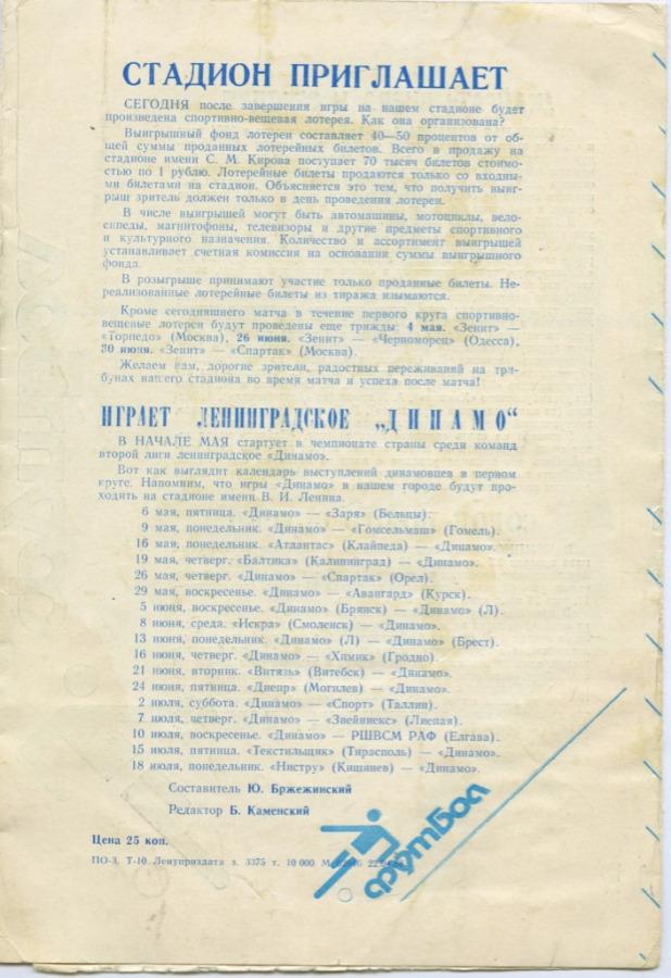 Программа кматчу «Зенит» - «Кайрат» 1988 года (СССР)