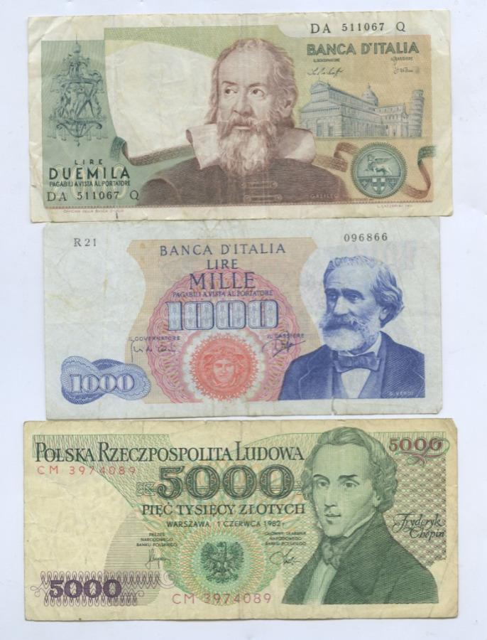 Набор банкнот (Польша, Италия)