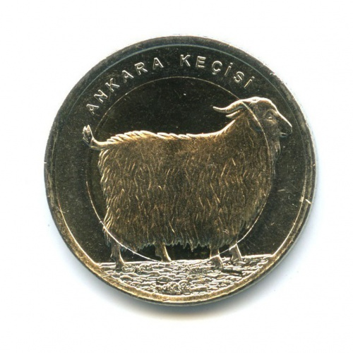 1 лира - Красная книга - Ангорская коза 2015 года (Турция)