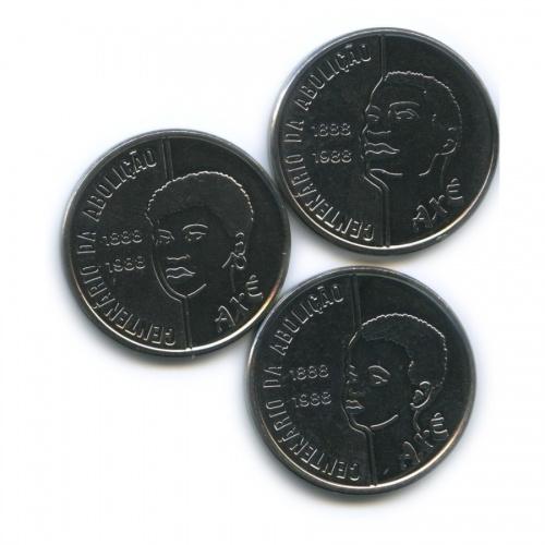Набор монет 100 крузадо - 100 лет отмены рабства 1988 года (Бразилия)