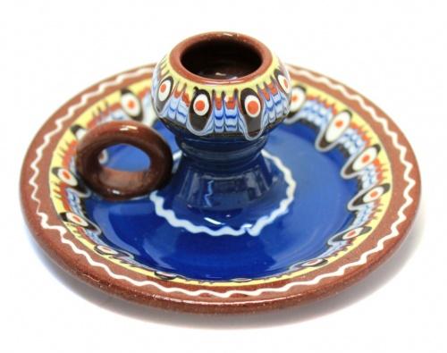 Подсвечник (обливная керамика, ручная работа, 12,5 см)