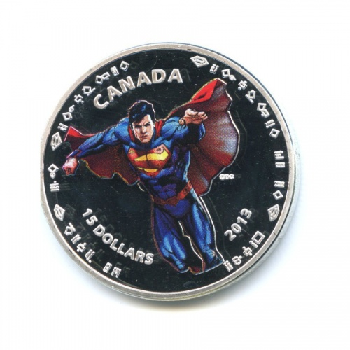Жетон «15 долларов 2013 - Супермэн, Канада», копия (вкапсуле)