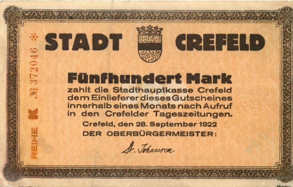 500 марок (Крефельд) 1922 года (Германия)