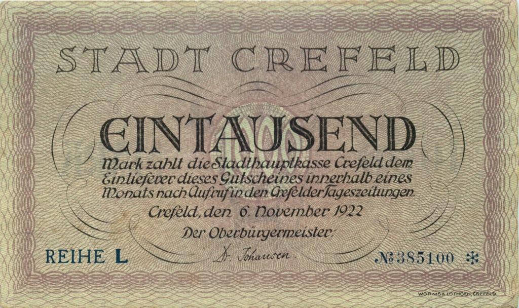 1000 марок (Крефельд) 1922 года (Германия)