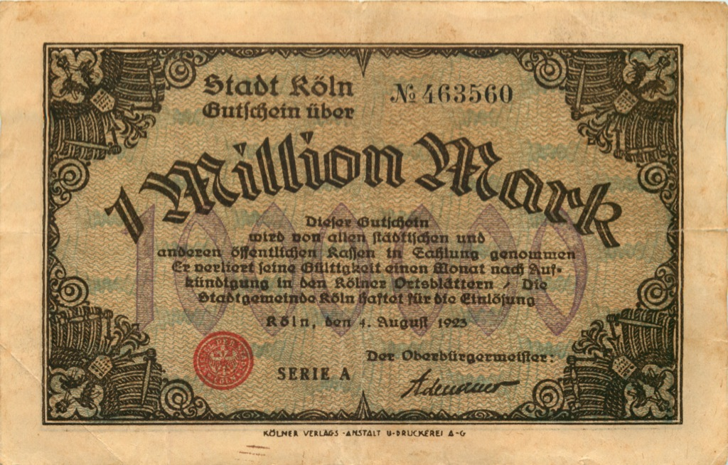 1 миллион марок, Кельн 1923 года (Германия)