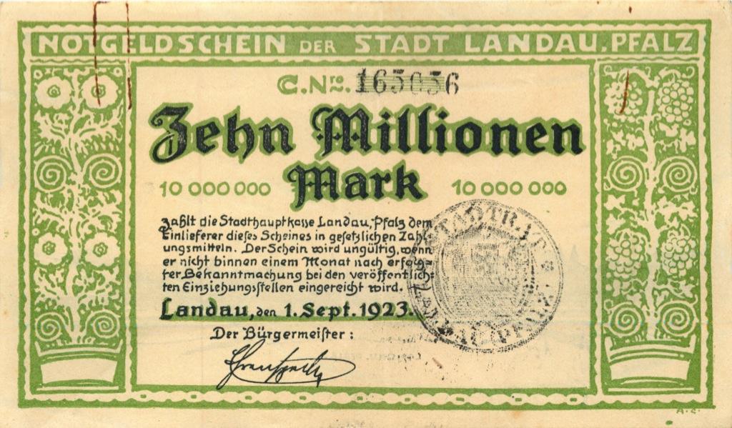 10 миллионов марок, Ландау 1923 года (Германия)