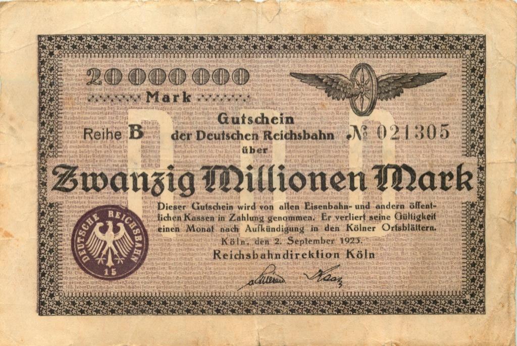 20 миллионов марок (Кельн, железная дорога) 1923 года (Германия)