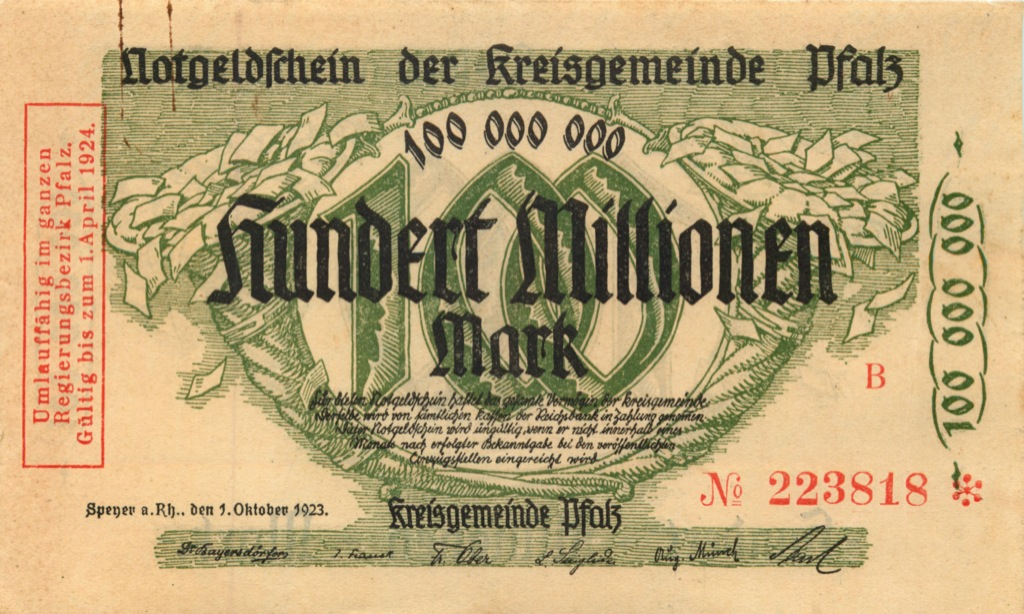 100 миллионов марок (Пфальц) 1923 года (Германия)