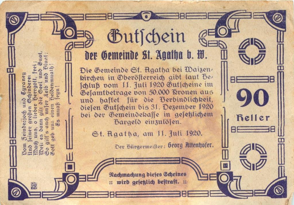 90 геллеров (нотгельд) 1920 года (Австрия)