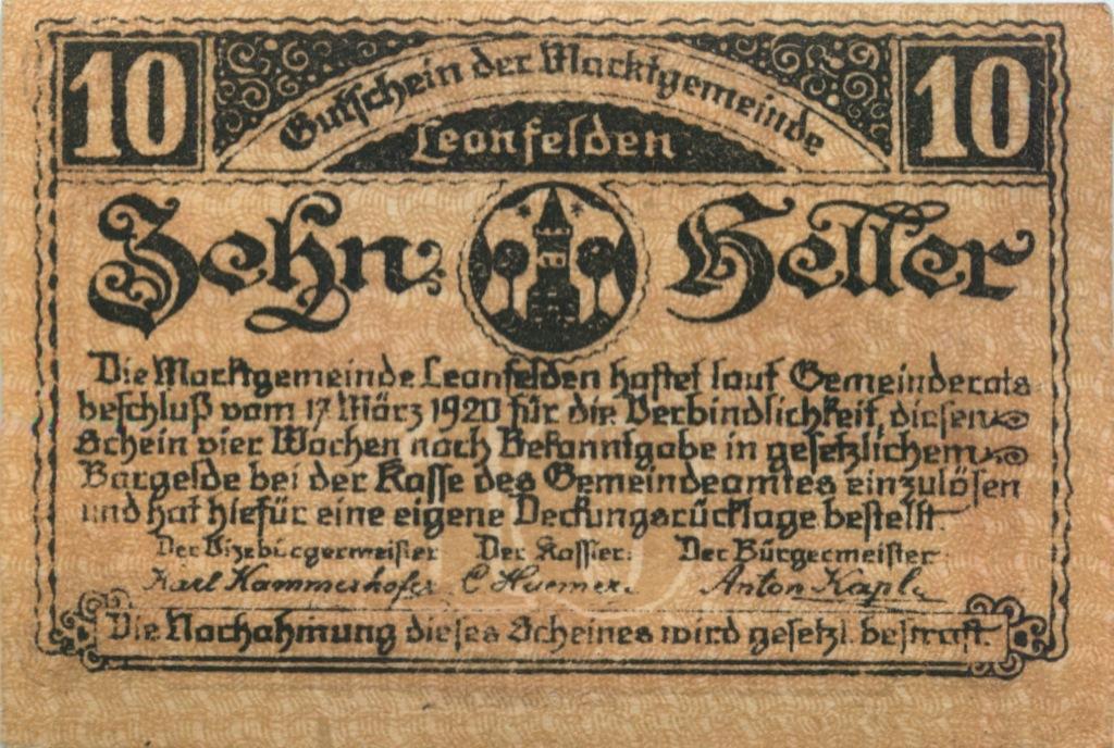 10 геллеров (нотгельд) 1920 года (Австрия)