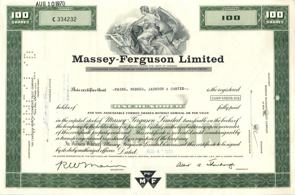 100 акций («Massey-Ferguson Limited») 1970 года (США)
