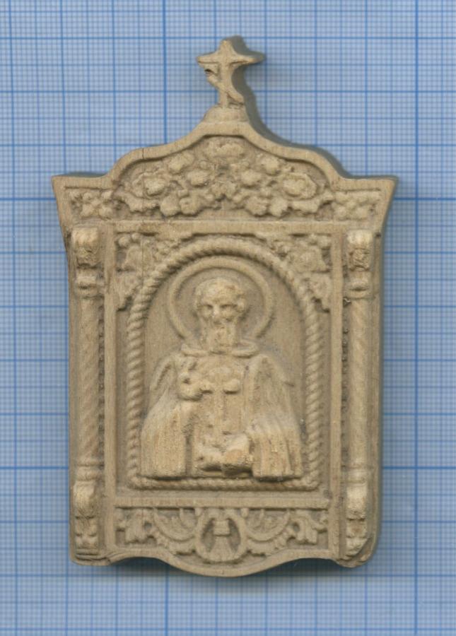 Иконка «Святой Преподобный Сергий Радонежский» (дерево, резьба, 100×65 мм)