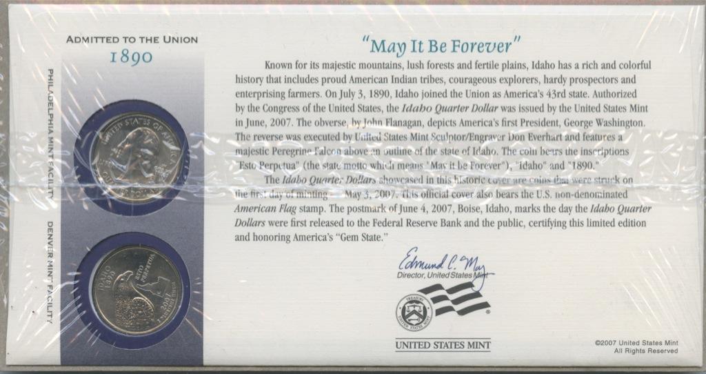 Набор монет 25 центов (квотер) — Квотер штата Айдахо (воткрытке) 2007 года (США)