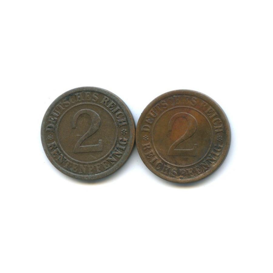 Набор монет 2 рейхспфеннига, 2 рентенпфеннига 1924 года J (Германия)