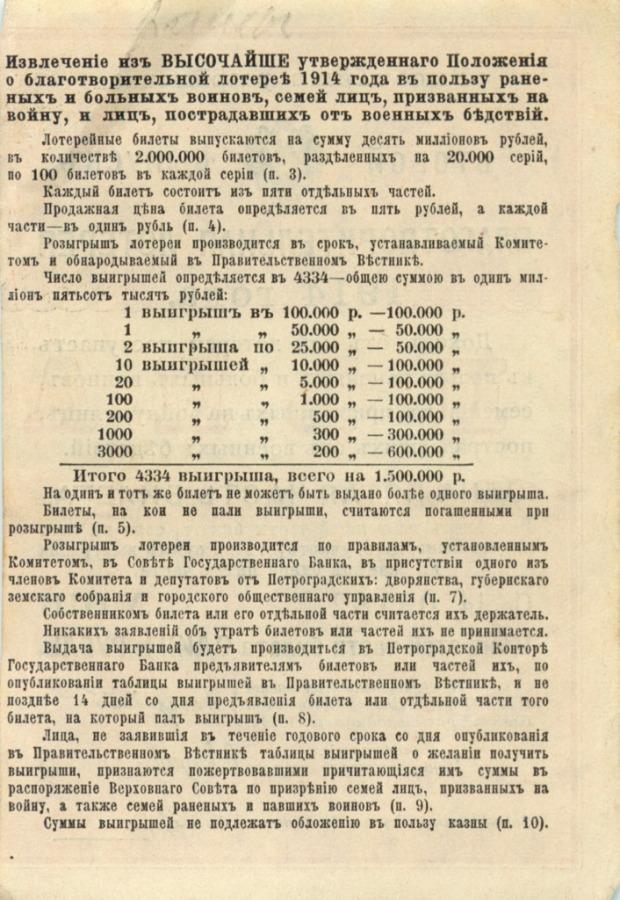 1 рубль (1/5 часть билета благотворительной лотереи) 1914 года (Российская Империя)