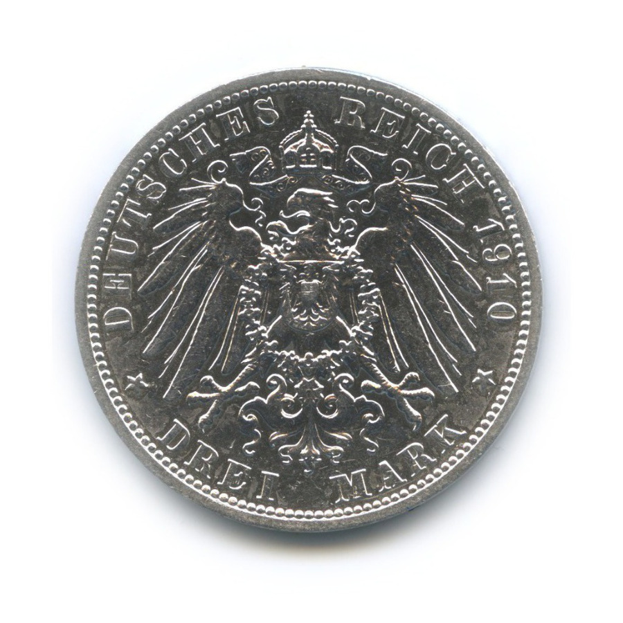 3 марки - Вильгельм II, Пруссия 1910 года А