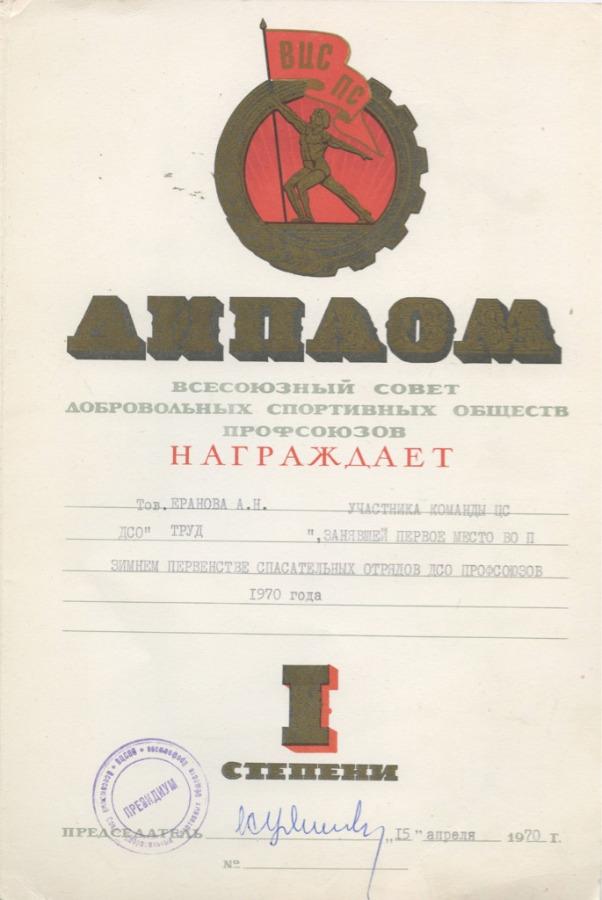Диплом Iстепени «Всесоюзный совет добровольных спортивных обществ профсоюзов» 1970 года (СССР)