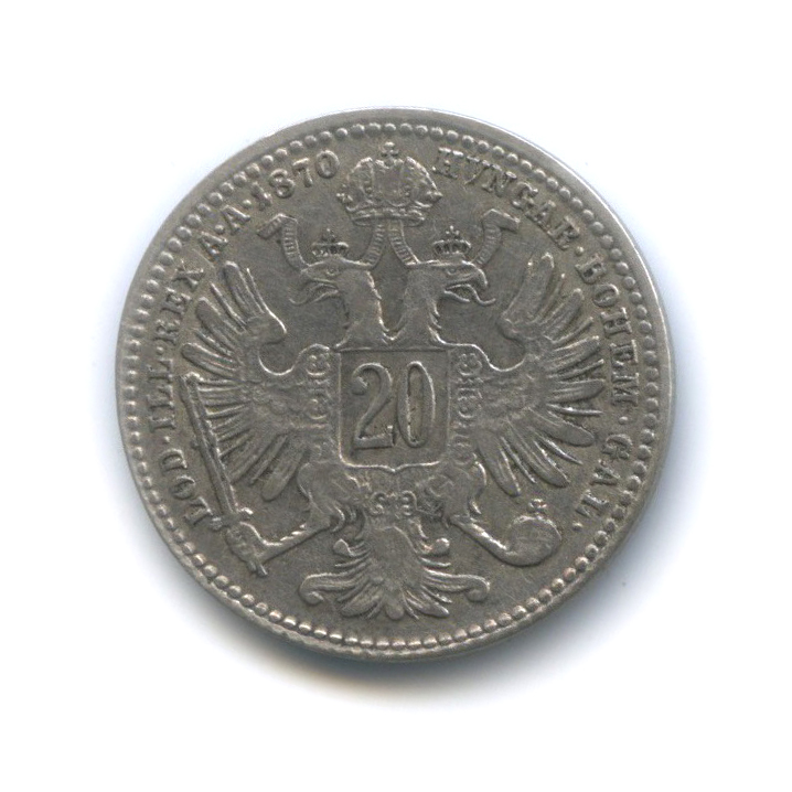 20 крейцеров - Франц Иосиф I, Австро-Венгрия 1870 года (Австрия)
