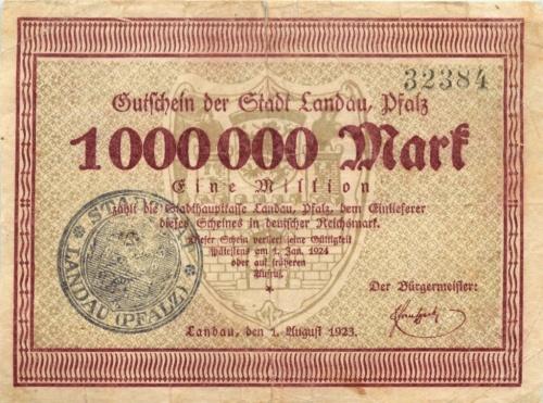 1 миллион марок, Ландау 1924 года (Германия)