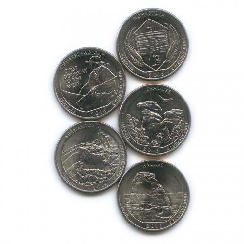 Набор юбилейных монет 25 центов (квотер) 2014-2016 (США)