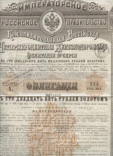 175 миллионов рублей золотом (облигация 1-й серии) 1889 года (Российская Империя)