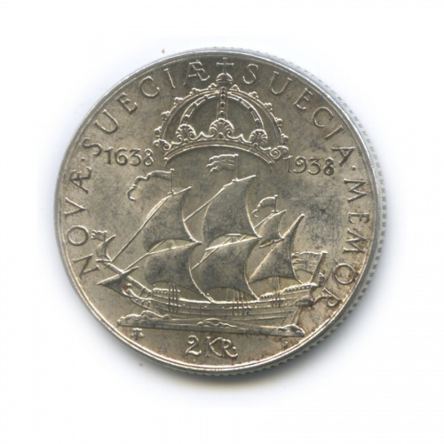 2 кроны — 300 лет поселению Делавэр 1938 года (Швеция)