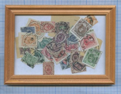 Набор почтовых марок врамке (неприклеены) (Российская Империя)