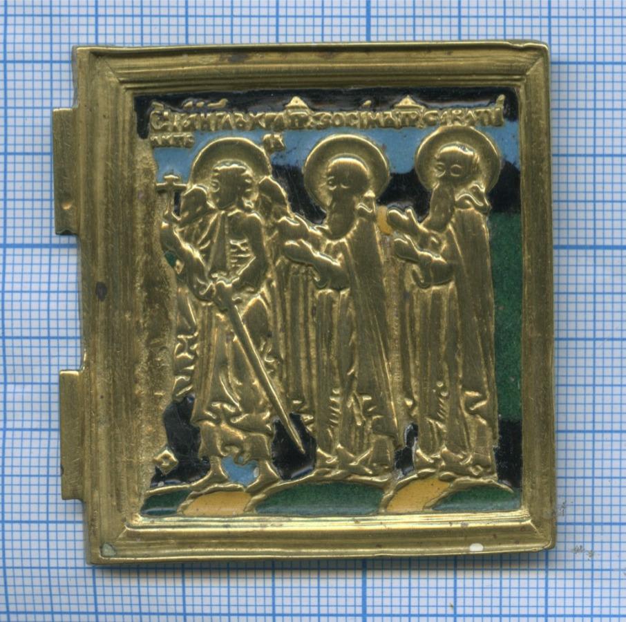 Створка отскладня «Ангел-хранитель скрестом вправой руке имечом, св. Зосима, св. Савватий» (эмаль)