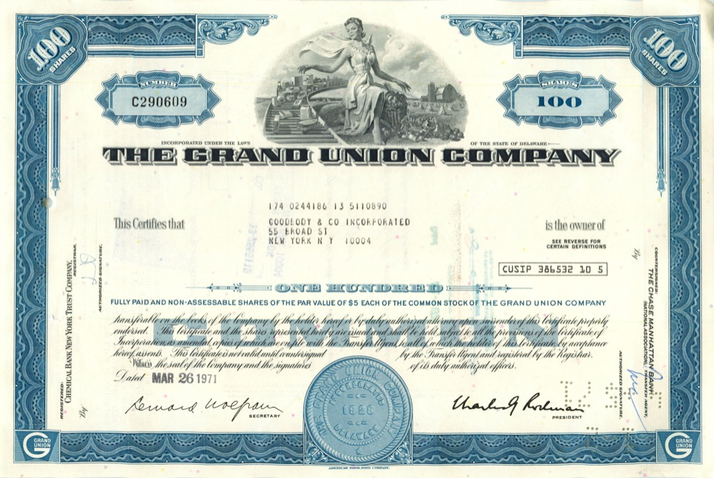 100 акций («The Grand Union Company») 1971 года (США)