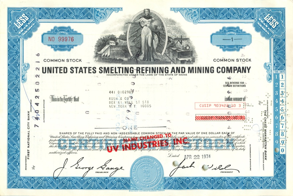 1 акция («United States Smelting Refining And Mining Company») 1974 года (США)