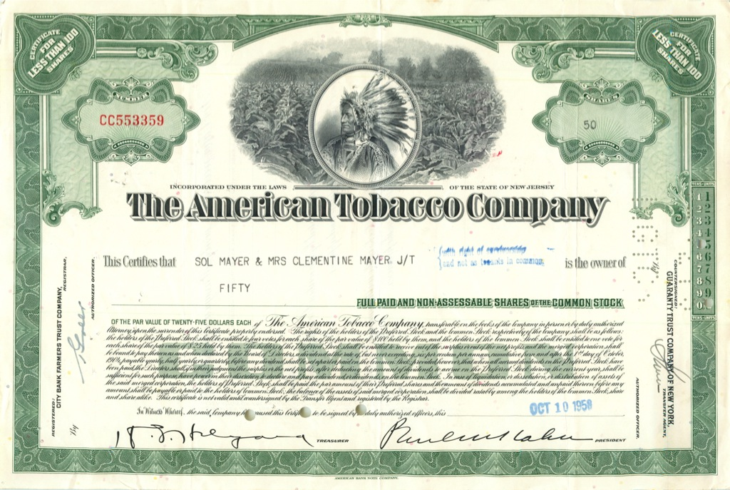 50 акций («The American Tobacco Company») 1958 года (США)