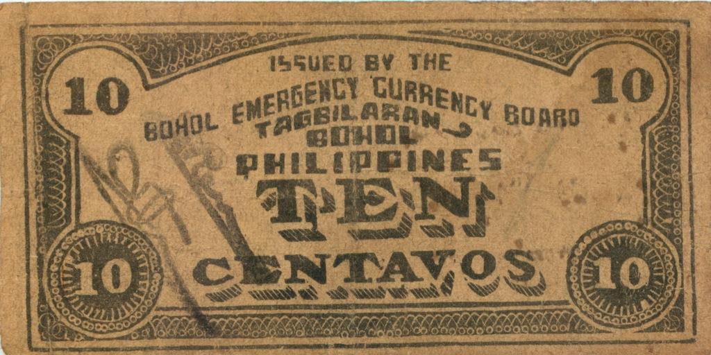 10 сентаво (о-в Бохоль) 1942 года (Филиппины)