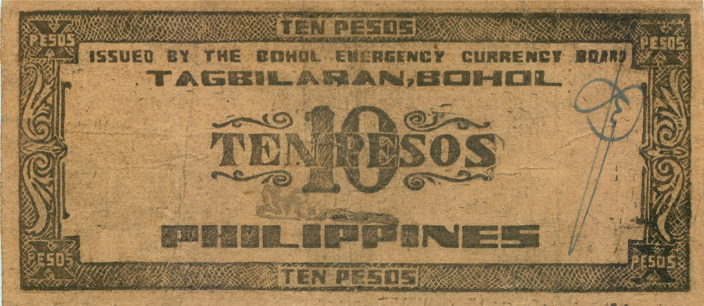 10 песо (о-в Бохоль) 1942 года (Филиппины)