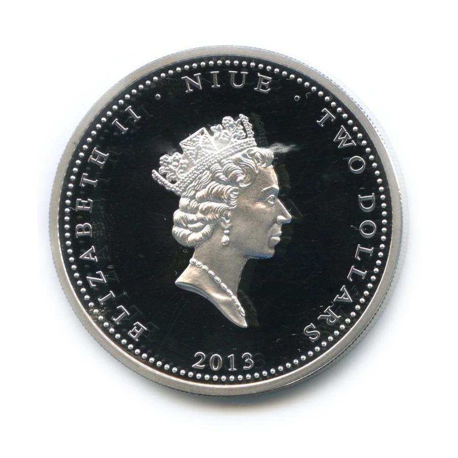 2 доллара - Любовь драгоценна - Ласточки, Остров Ниуэ (цветная эмаль) 2013 года