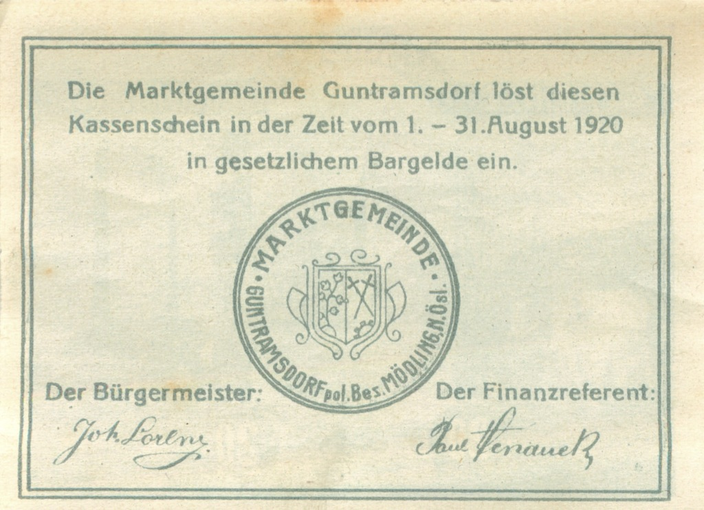 20 геллеров (нотгельд) 1920 года (Австрия)