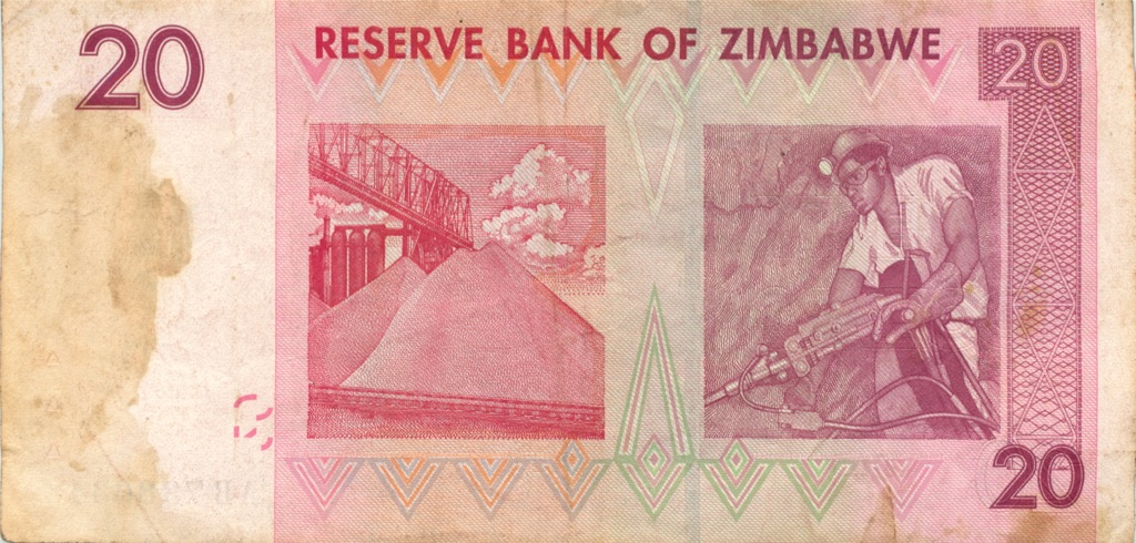 20 долларов (Зимбабве) 2007 года