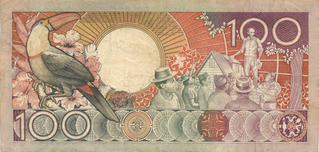 100 гульденов (Суринам) 1988 года