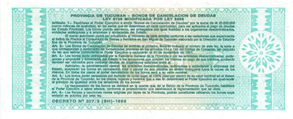 1 аустраль, провинция Тукуман 1991 года (Аргентина)