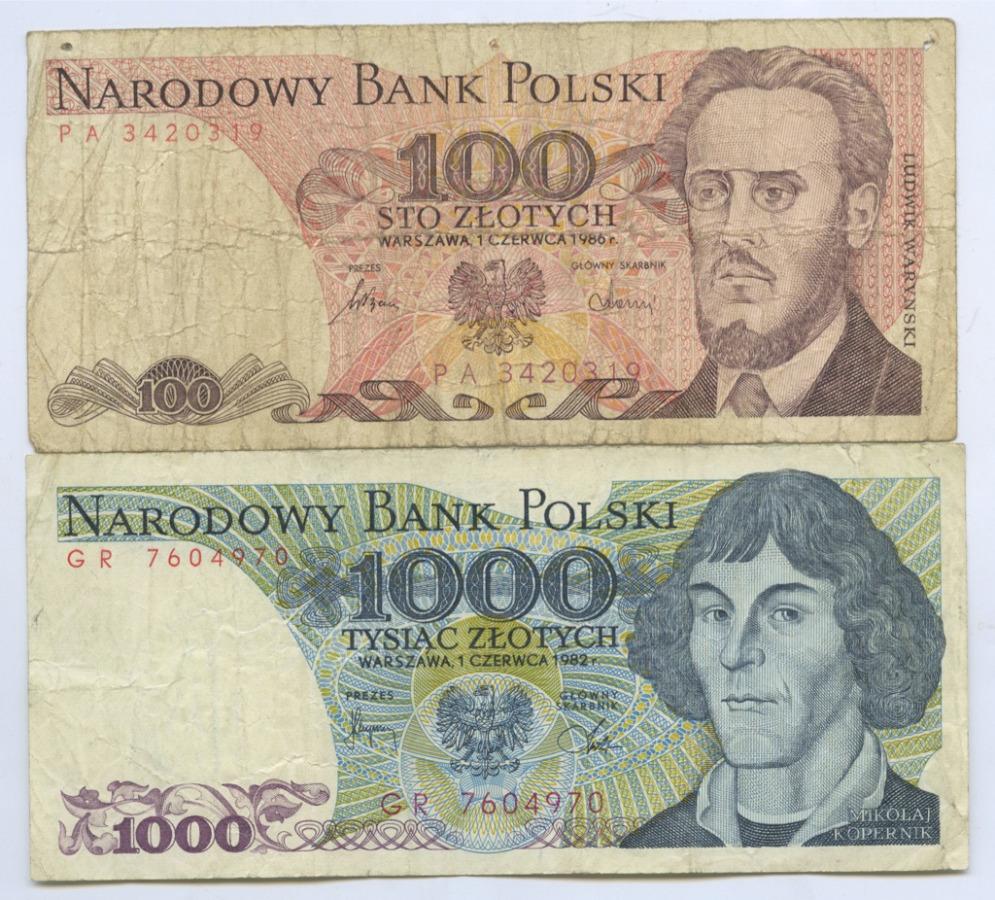Набор банкнот 1982, 1986 (Польша)