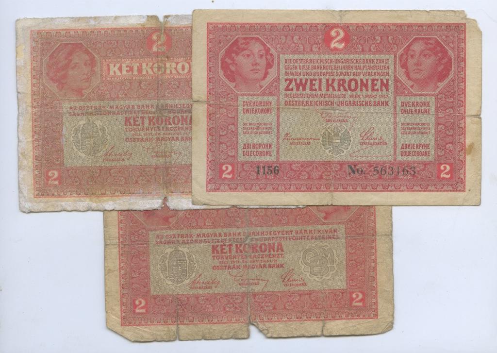 Набор банкнот 2 кроны (Австро-Венгрия) 1917 года