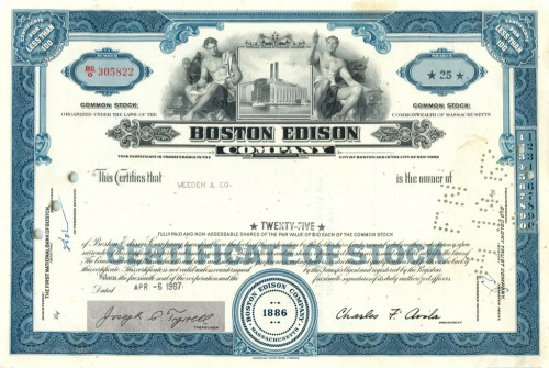 25 акций («Boston Edison Company») (США)