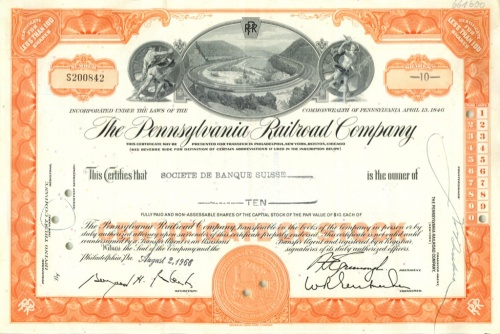 10 акций («The Pennsylvania Railroad Company») 1966 года (США)