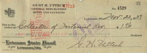 Чек банковский 1937 года (Ливан)