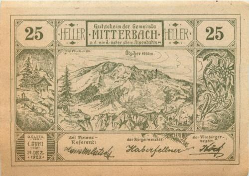 25 геллеров (нотгельд) 1920 года (Австрия)