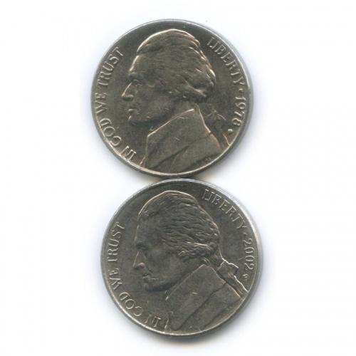 Набор монет 5 центов 1978, 2002 Р (США)