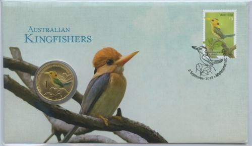 1 доллар - Желтоклювый Зимородок, Тувалу (вконверте смаркой) 2013 года